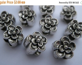 CLEARANCE 10 Pieces of Large Hole Metal Beads - 9mm Round Flower Shape, Antique Silver Color, Double Sided Detailed Flower, European Style,
