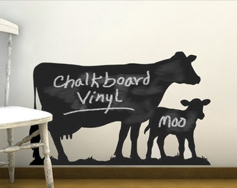 Cow Vinyl Chalkboard Wall decal, Kids Chalkboard, Barnyard Baby Shower, Barnyard Party Animals Wall Stickers Dairy Cow & Calf (0172c84v-r3c)