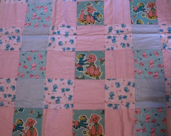 Vintage Mid Century Novelty Juvenile Dog and Cat Print Baby Quilt