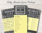 Chalkboard Baby Shower Game Package Set Yellow Printable Shower Games Wishes for Baby Game Price is Right Baby Mad Libs - INSTANT DOWNLOAD