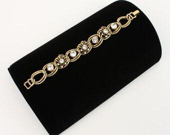 vintage 1940s 50s gold chain bracelet • RHINESTONE links