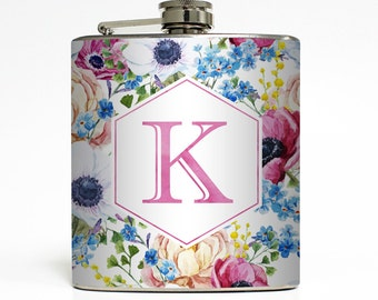 Custom Flask Personalized Flowers Initial Monogram Custom 21st Birthday Women Bridesmaid Gifts Stainless Steel 6 oz Liquor Hip Flask LC-1613