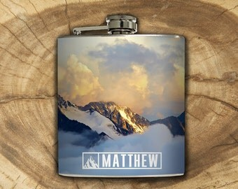 Personalized Mountain Whiskey Flask Traveler Camping Hiking Outdoors Backpacking Nature Gift Stainless Steel 6 oz Liquor Hip Flask LC-1591