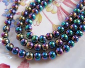 Hematite Beads in Iridescent Blue Yellow Purple Metallic Rainbow Colors, Electroplated Non Magnetic, 5mm to 6mm 1 Strand 15 Inches, 75 Beads