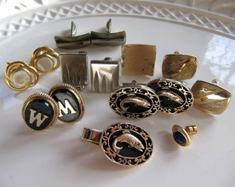 Salvaged Vintage Cuff Links Pairs, Singles, Silver and Gold Tone Metal, 15 Pieces, 12mm to 25mm, For Recycling Repurposing Assemblage