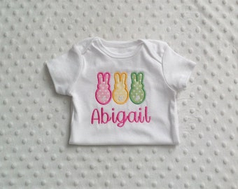 Baby Girl Personalized Onesie with 3 Appliqued Bunnies