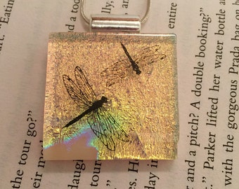 Dichroic glass jewelry, fused glass, Dichroic Glass, Dragonfly Jewelry, Fused Dichroic Necklace, Dichroic Glass, dichroic glass pendant