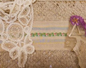 Antique Lace Lot Handmade w/ Silk Ribbon Collars Trim Scarf One-eyed Adda