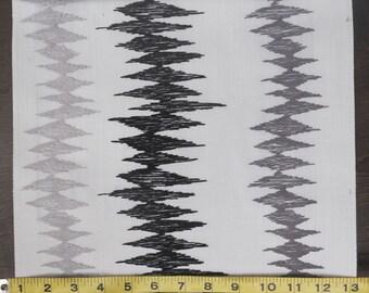 Custom Curtains Valance Roman Shade Shower Curtains in Silver / Black / Grey Zig Zag Stripe Pattern Fabric
