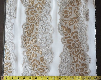Custom Curtains in Sheer Ivory with Khaki / Ivory Floral Stripe Pattern One Panel Custom sizes available