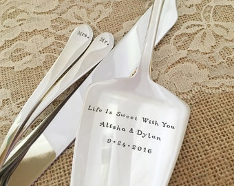 Cake forks, knife, server SET, Mr & Mrs bride and groom personalized, sleek matching new set