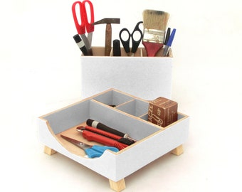 Desk Organizer, Desktop Set, Desktop Organizer, Wooden Desk set, White Desk Organizer, Office Accessories, White Boxes, Back to school