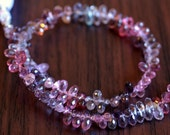 Reserved - Multi Spinel Teardrops, Tiny Gemstone Beads, Multicolor Drops, Plum, Pink, Lavender, AAA - 4mm - 5mm long - 4 inch strand