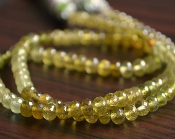 Green Grossular Garnet Rondelles, AAA Gemstone Beads, Mint Olive Gold Color, Microfaceted Roundels, 4mm - 5mm, 7 inch strand