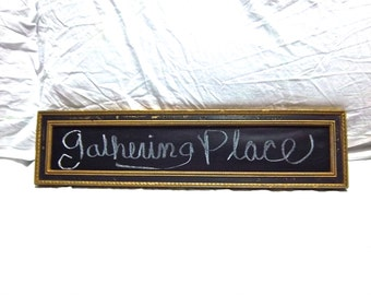Repurposed Handmade Wallhanging 1970's Upcycled Chalk Board Home Decor Wall Message Board Display
