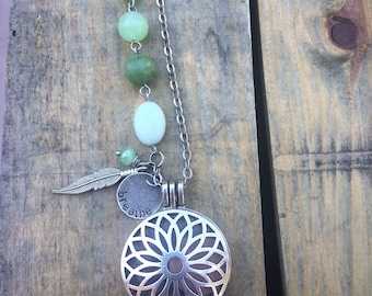 antique silver DIFFUSER necklace -  long antiqued silver and green design - pre-made