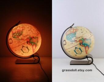 Vintage Globe Lamp By Scan-Globe with Curved Plexglass, illuminate Globe , 1980s Denmark