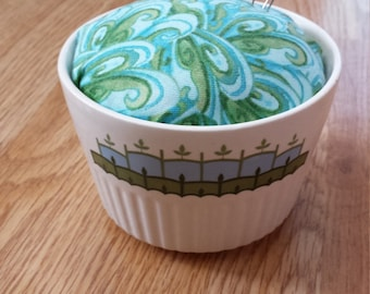 Upcycled pin cushion repurposed dish green blue retro