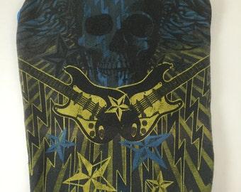 CLEARANCE Medium Blue and Yellow Guitar Skull Dog Tank