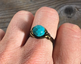 size 8 - dyed Turquoise faceted gemstone , antique brass gold wire wrapped ring - stone natural rustic women men handmade wrap