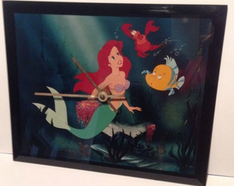 The Little Mermaid CLOCK, Illustration Under Glass, Original Disney Product, Highly Collectible