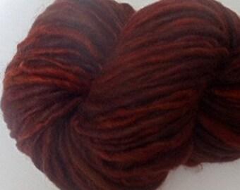 "Thick & Thin Bulky Yarn Alpaca / Wool  Hand Dyed 72 Yds Deep Red Maroon Burgundy Doll Hair Knitting  Crochet "" Sangria ""  (2 skeins avail.)"