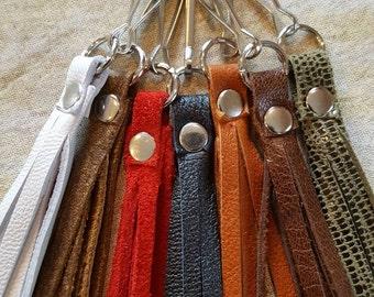 Zipper Pull - Leather Bag Charm - Tassel Charm  - Leather Tassel - Fringe Bag charm - Leather Charm For Bags - Leather Jewelry