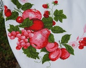 "VTG Tablecloth 60"" x 68"" Round Oval, Red White, Summer Fruit Pear Apples, Fringe"