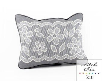 gray and white lace needlepoint kit - diy - contemporary - modern
