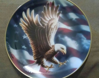 Vintage Collector Plate, American Eagle, Flag, 1991 Franklin Mint,  Certificate, Collectible Gift, Patriotic, Americana, Porcelain, Gold