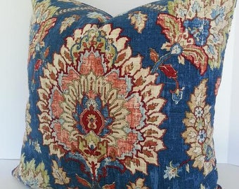 Decorative Designer Pillow Cover / Waverly Clifton Hall / Gem / Denim Blue / Marsala Wine / Burgundy Wine / Cream / Leaf Green and Rust
