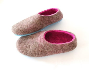 ON SALE 15% OFF Hot Pink Felted Slippers - Wool Shoes - Womens Shoes - Minimalist Shoes -  Rubber Soles - Christmas in July - Gift for Her -