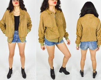 80's 90's TAN SUEDE Leather BOMBER Jacket. 90's Grunge Mod. Cropped Leather Bomber Coat.