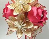 Ready to Ship Paper Flowers & Roses Dozen- Valentine's Day, perfect for her, first anniversary gift, wedding bouquet, one of a kind