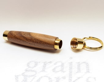 American Black Walnut Wood Secret Compartment Key Chain with 10kt Gold Accents (Gift Ready)