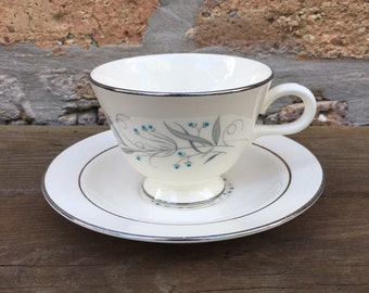 Tea CUP and SAUCER - CELESTE china by Homer Laughlin - priced by set of cup and saucer - made in america