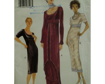 Plus Size Lined Dress Pattern, Raised Waist, Straight Skirt, Short/Long Sleeves, Scoop Neck, Overskirt, Vogue No. 9936 UNCUT Size 18 20 22