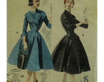 1950s Coat Dress Pattern, Fitted Bodice, Flared Skirt, Button Front, Shawl Collar, Cuffs, Yoke, Butterick No. 7472 Size 12 Bust 30""