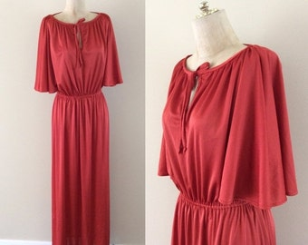 SALE 1970's Rust Colored Slinky Maxi Dress w/ Flutter Sleeves Vintage Dress Disco Size Small Medium Large by Maeberry Vintage