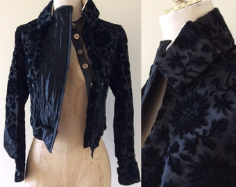 Antique Victorian a Burnt Out Velvet Fitted Jacket