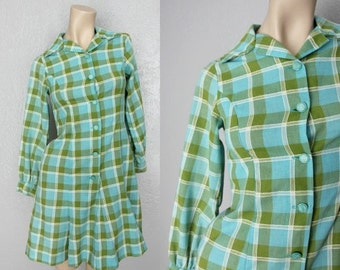 20% OFF 1960's Mod Cotton Fit and Flare Mini Vintage Plaid Dress Sz XS/S Green + Turquoise Dress
