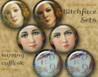 1 inch BITCHFACE Digital Printable Circles collage sheets for Jewelry Pendants Magnets Crafts...Altered Art Angry Women
