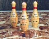 Vintage Kitsch Wood Bowling Trophies, Set of 3