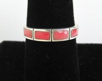 925 Sterling Silver & Pink Stone Ring / Band - Vintage, Size 6 3/4