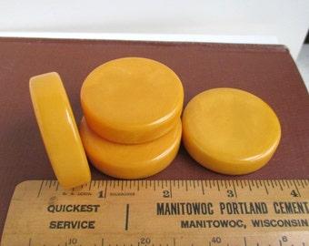 4 Large Butterscotch Bakelite Discs / Game Pieces - Vintage, Thick