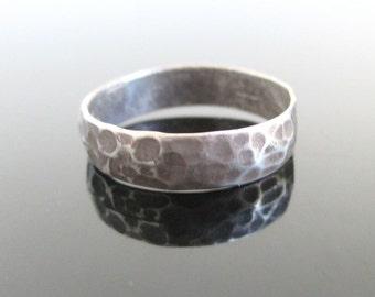 Hand Hammered 925 Sterling Silver Band Ring - Vintage Size 8 3/4