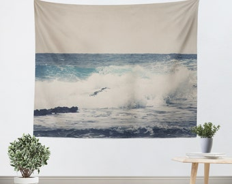 Art Wall Tapestry Ocean Blue Modern photography Unique Wall Hanging home decor gray tan nautical photo photograph beach house navy blue wave