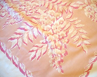 Vintage Printed Pink Floral Kitchen Tablecloth 48 x 50 Signed Callaway