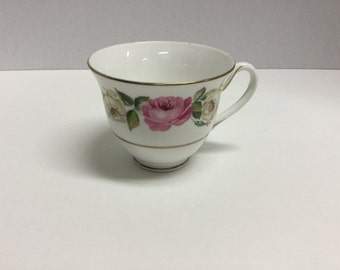 Vintage Pink and White Peony Peonies Tea Cup Made in England Royal Garden Bone China