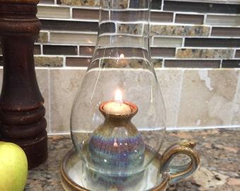 Pottery Oil Lamp in Brown Glaze